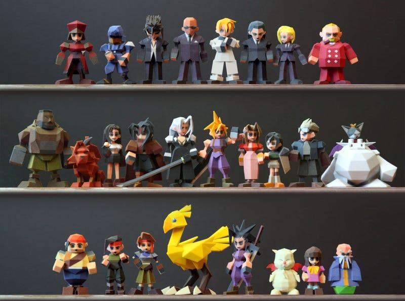 Los personajes de Final Fantasy VII al completo, impresos en 3D
