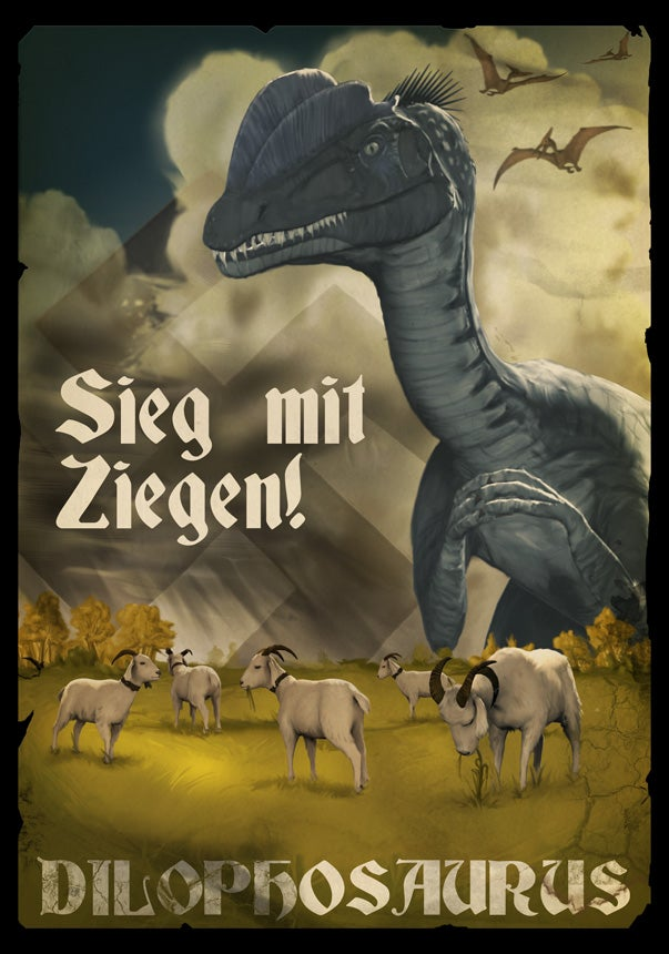 Propaganda posters urge you to keep calm and shoot Nazi dinosaurs