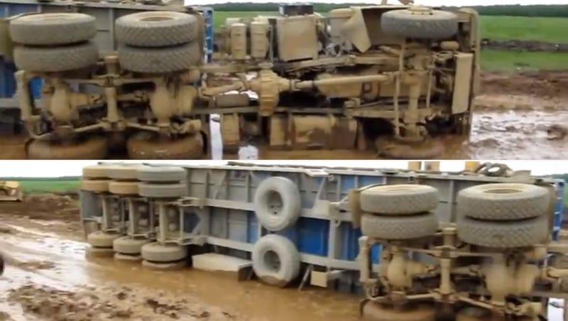 This Siberian Road Swallows 22-Wheeler Trucks