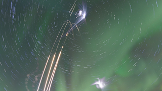 Four Rockets Fired Into An Aurora