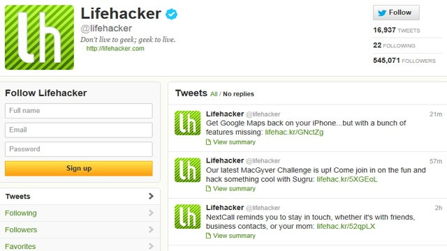 Follow Lifehacker on Twitter for All Our Stories in Your Feed