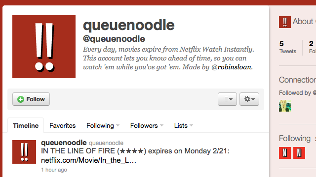 Queuenoodle Warns You of Expiring Netflix Movies via Twitter