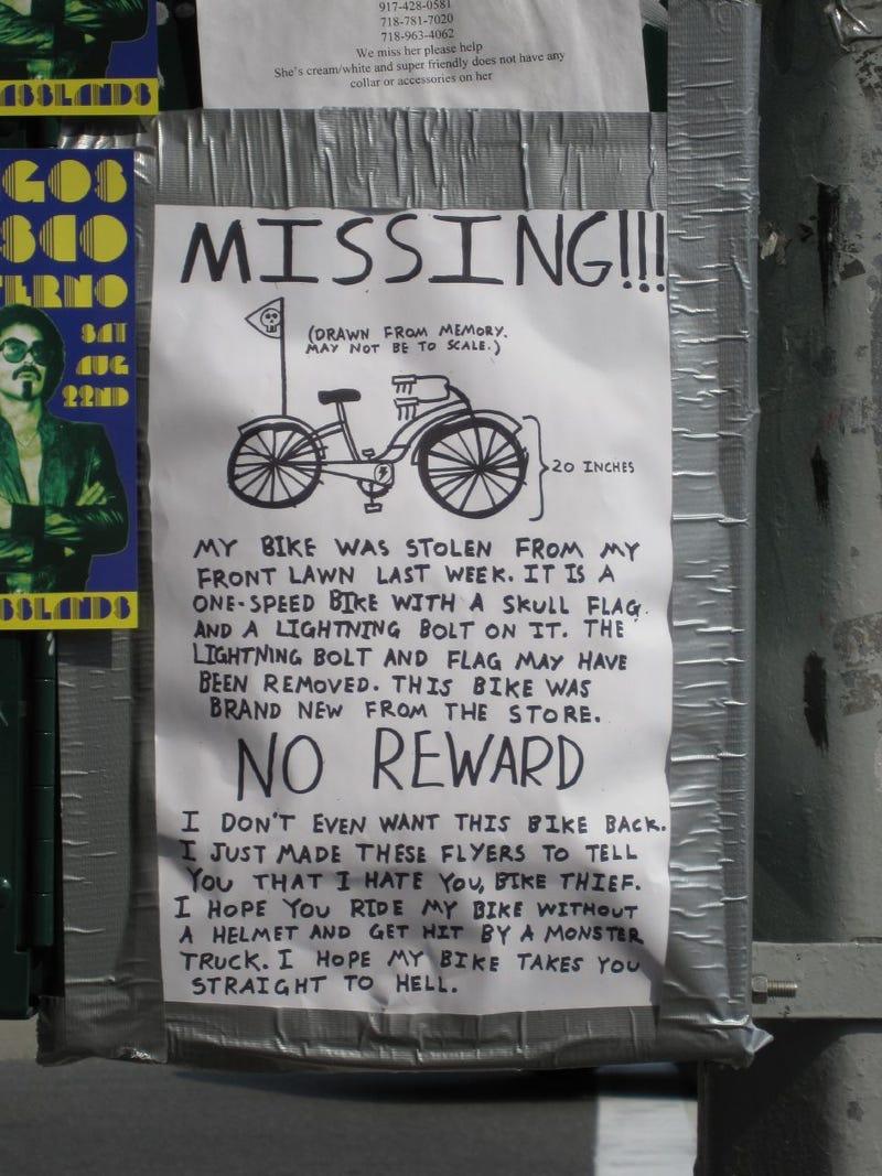 Bike Owner To Bike Thief: Truck Off And Die