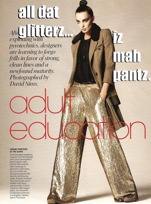 LOLVogue: All Dat Glitterz Iz Mah Pantz
