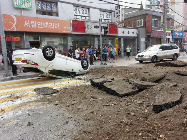 Korean Street Explodes, Flips Car Like a Toy