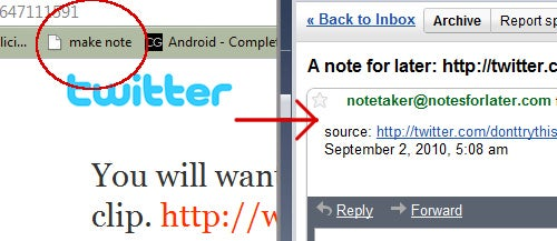 "Notes for Later Creates Personalized ""Email Yourself"" Bookmarklets"