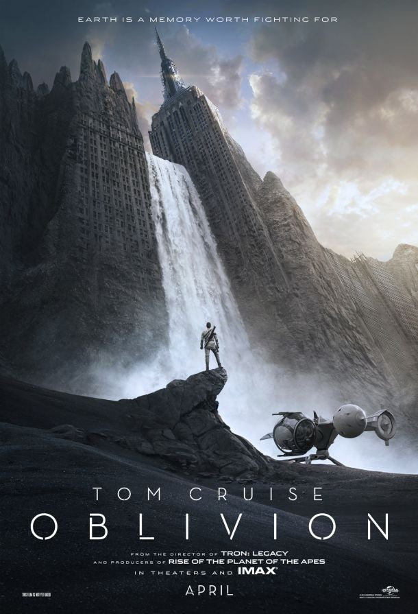 First poster for Tom Cruise's Oblivion poster shows off a post-apocalyptic New York city