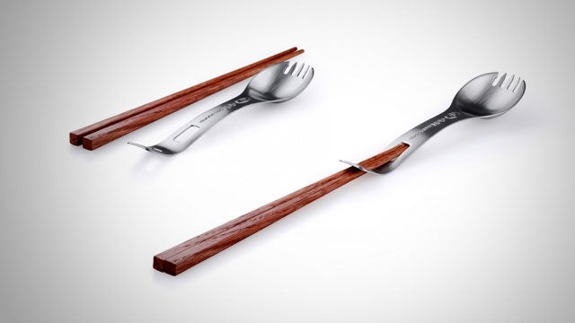 The Titanium Kung Foon Spork Combines Every Dining Utensil into One Portable Eating Tool
