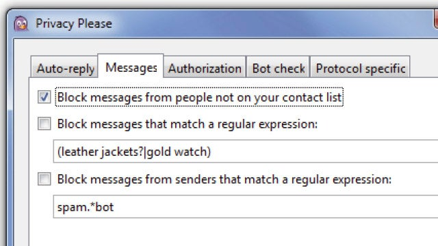 Pidgin Privacy Please Blocks Instant Message Spam