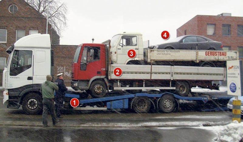 It's A Truck Carrying A Truck Carrying A Truck Carrying A Mercedes