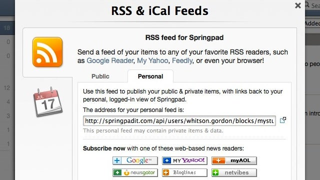 Springpad Improves Send-Via-Email, Adds RSS, Calendar Support and Local Backup