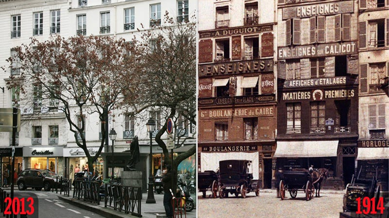 Amazing Layered Images Put Modern Paris Side-by-Side with Color Photographs from 99 Years Ago
