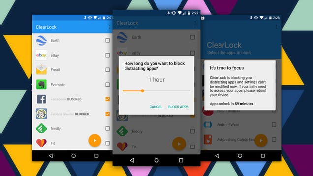 ClearLock Blocks Your Distracting Apps For a While