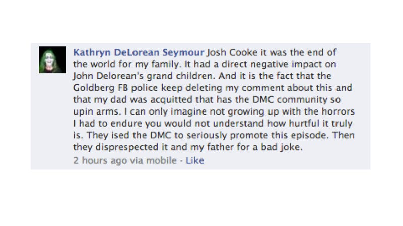 John DeLorean's Daughter Is Really, Really Pissed At The Goldbergs [UPDATE]