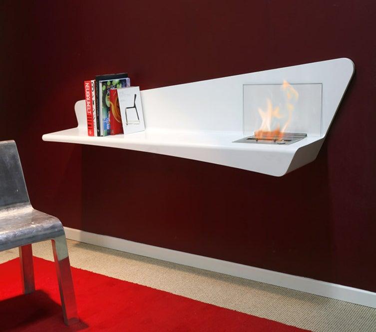 "CoasiHome Bio ""Helios"" Fireplace Has a Shelf Fit for Fahrenheit 451"