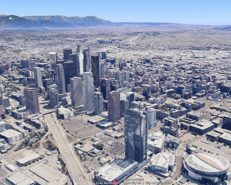 Downtown L.A.'s Skyline from the Air: 1940s vs. 2014