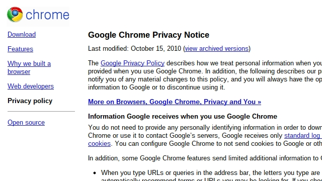 What Data of Mine Does Chrome Send to Google?