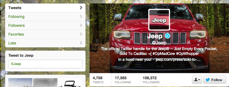 Jeep Twitter Hacked Into Cadillac (UPDATE: We Heard From The Alleged Hacker)