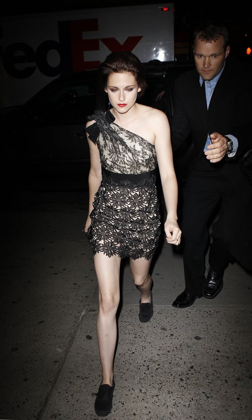 Kristen Pairs Lacy Dress With Beat-Up Keds