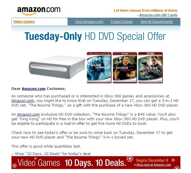 Dealzmodo: Xbox 360 HD DVD Player Comes With Free Bourne Trilogy