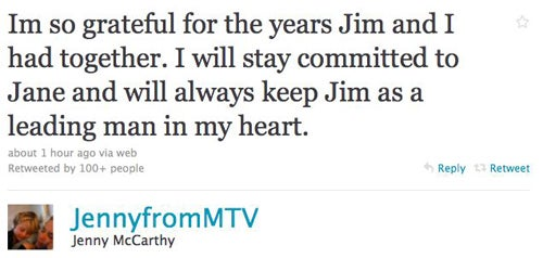 Jim Carrey & Jenny McCarthy Throw In The Towel Via Twitter