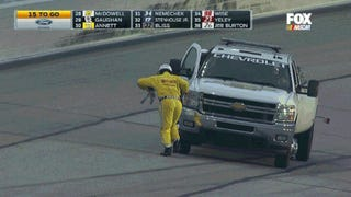 NASCAR Official Eats It On Live TV