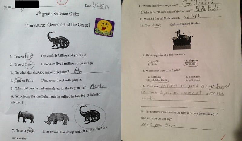 Dad Mad at School for Teaching Young Earth Creationism as 'Science'