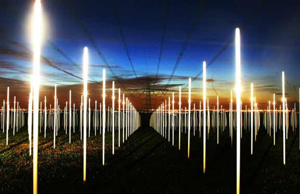 A Field of Light Sabers, Powered By Ambient Electricity
