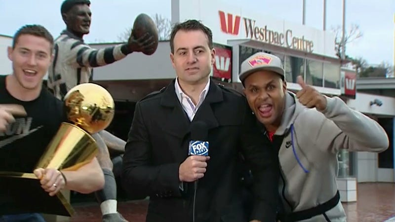 Patty Mills And Aron Baynes Invade Live Shot, Get Shoved Away