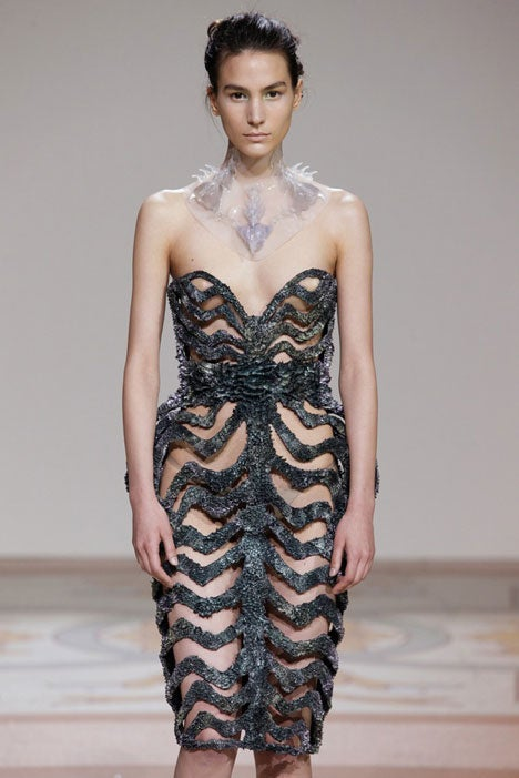 These spiky runway dresses are created from iron filings and magnets