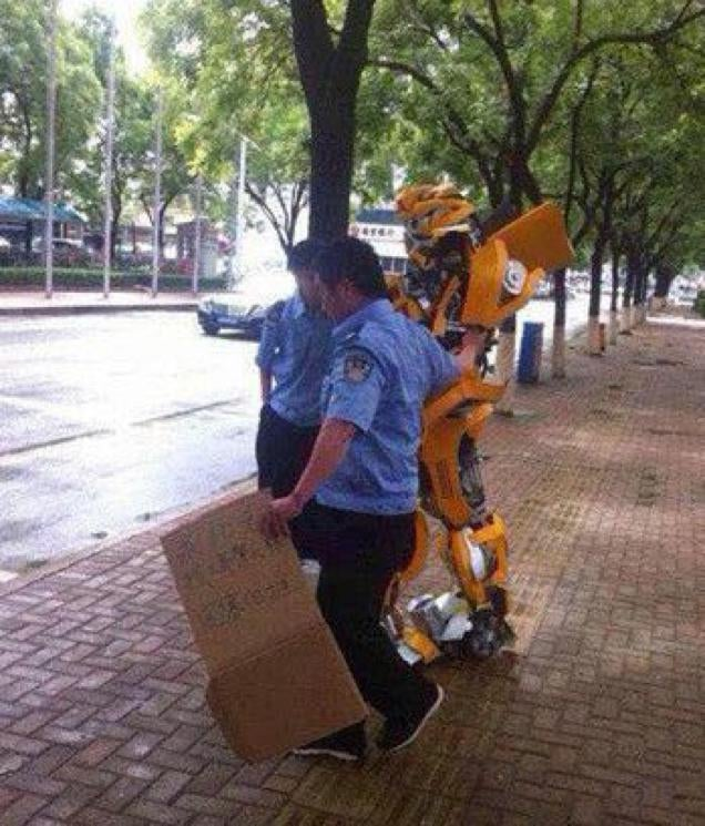 Bumblebee Begging on the Streets for a Trip to Cybertron