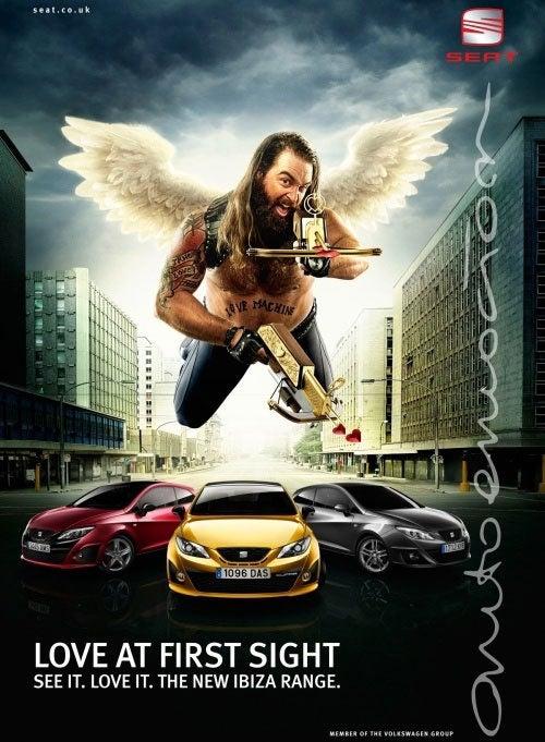 Biker Cupid Patrols Seat Ibiza Ads