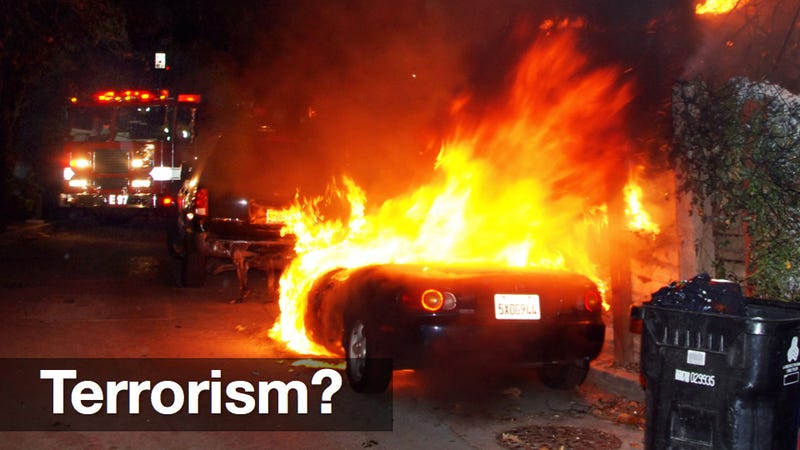 Are the Los Angeles car fires an act of 'domestic terrorism?'