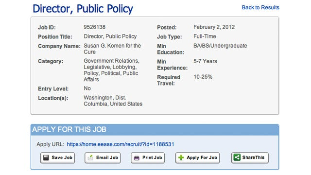 Komen Posts Job Listing for Position That Looks Suspiciously Like Karen Handel's