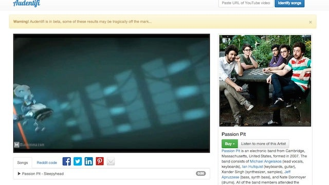 Audentifi Identifies Songs in YouTube Videos