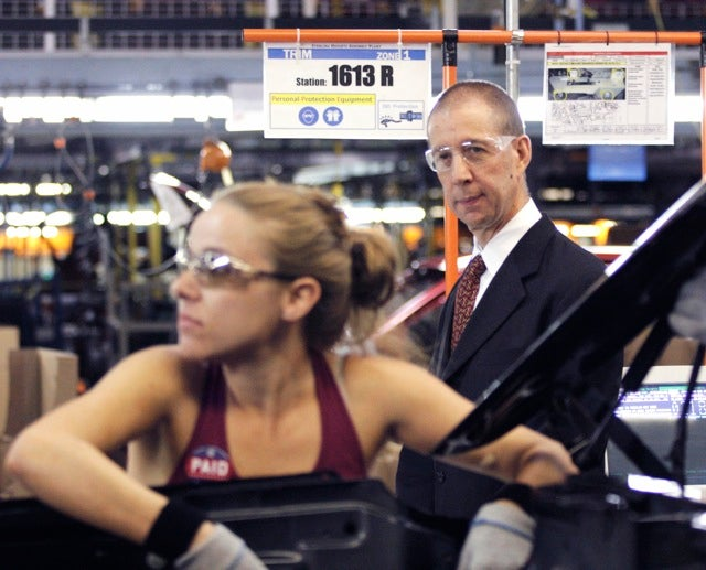 Is Obama manufacturing czar Ron Bloom looking at this auto worker's ass?