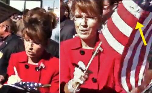 Watch Sarah Palin Desecrate a Flag
