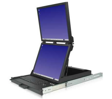 Dual Vertical LCD Monitor Converts Your Rack into a Transformer