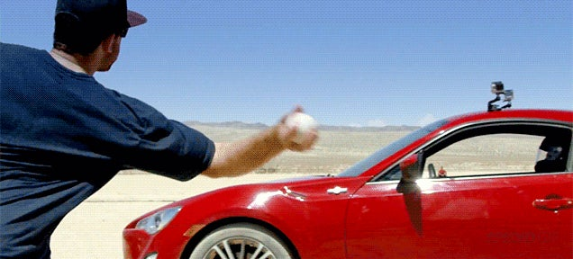 These baseball trick shots using drifting cars are pretty nuts