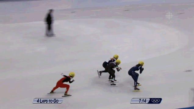 Speed Skater Wins Gold After Everyone Else Crashes