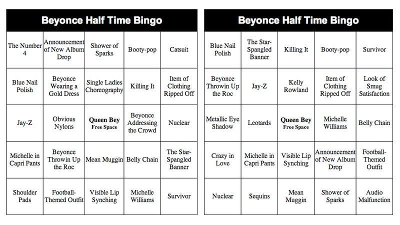 Let's Play Beyoncé Halftime Bingo, or 'Beyngo'