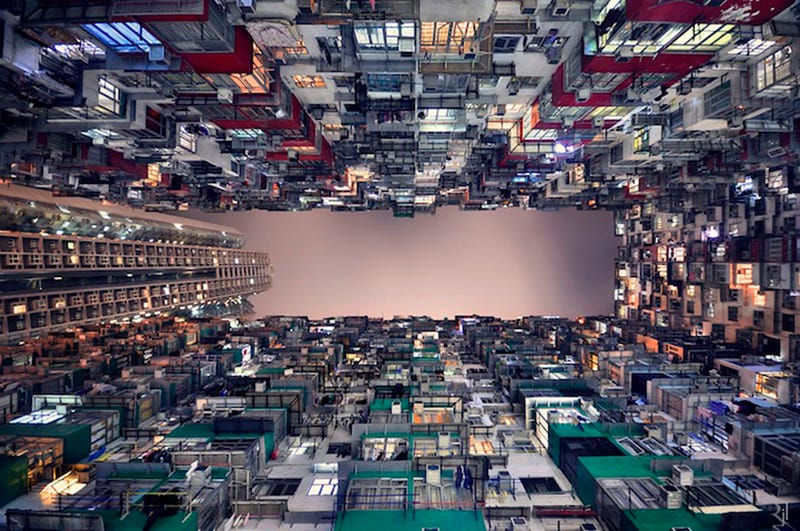 Vertical Perspective of Hong Kong's Immense Skyscrapers