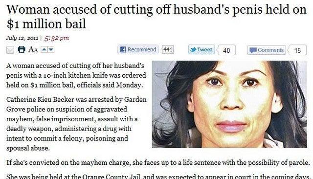 Woman Disposes of Husband's Penis in Garbage Disposal