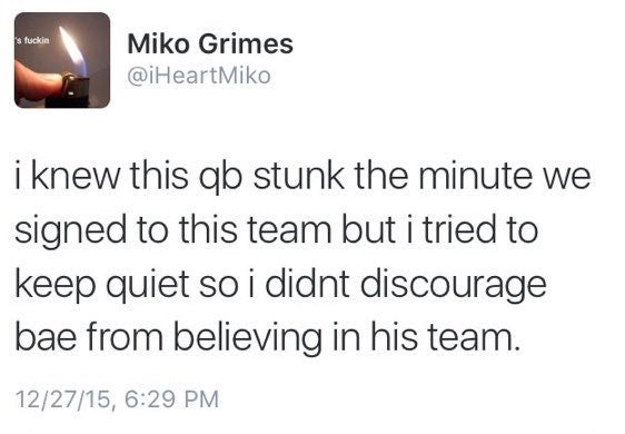 Latest Miko Grimes Twitter Rant Torches Ryan Tannehill