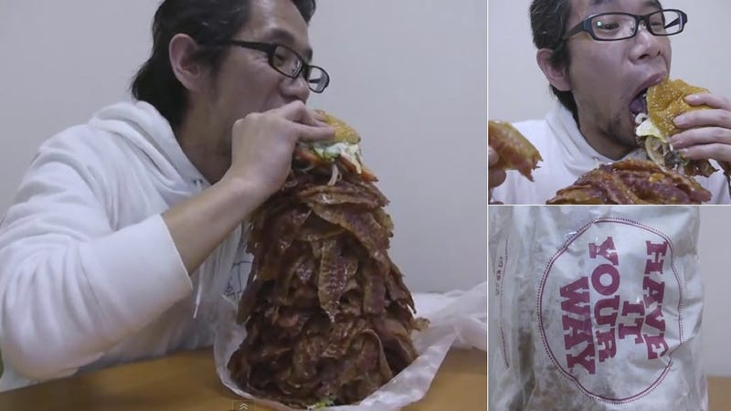 Behold a Hamburger Stacked with a Thousand Pieces of Bacon