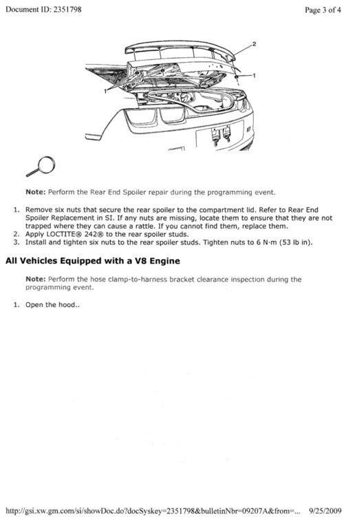 GM Issues Service Bulletin To Repair Camaro Spoiler, Other Stuff