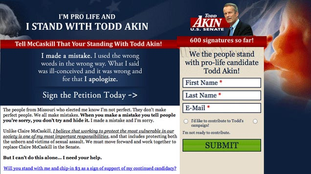 Dear Todd Akin, Your/Your're a Moron