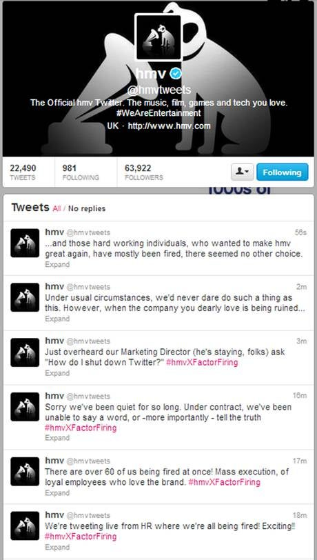 Sacked HMV Employees Take Over Company's Official Twitter Account, Live-Tweet Their Termination