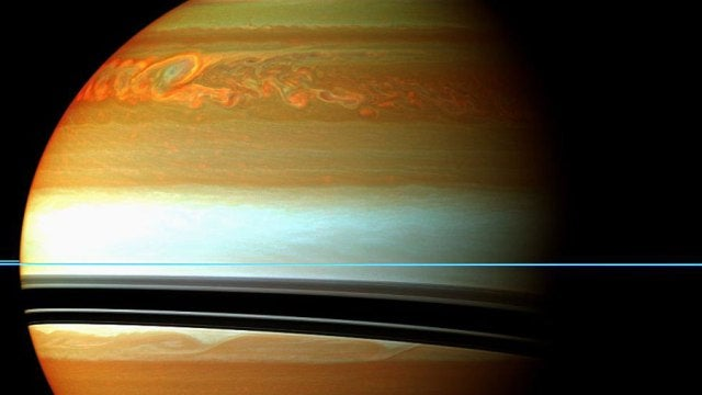 The storm clouds of Saturn are bigger than our entire planet