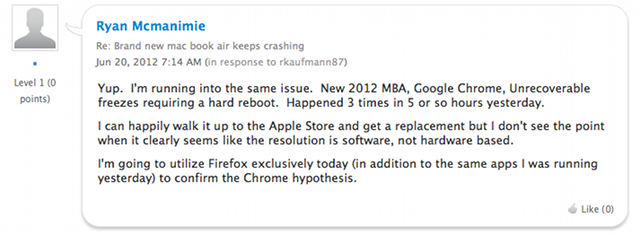 New MacBook Air Crashing? Blame Google Chrome, Probably (Updated)
